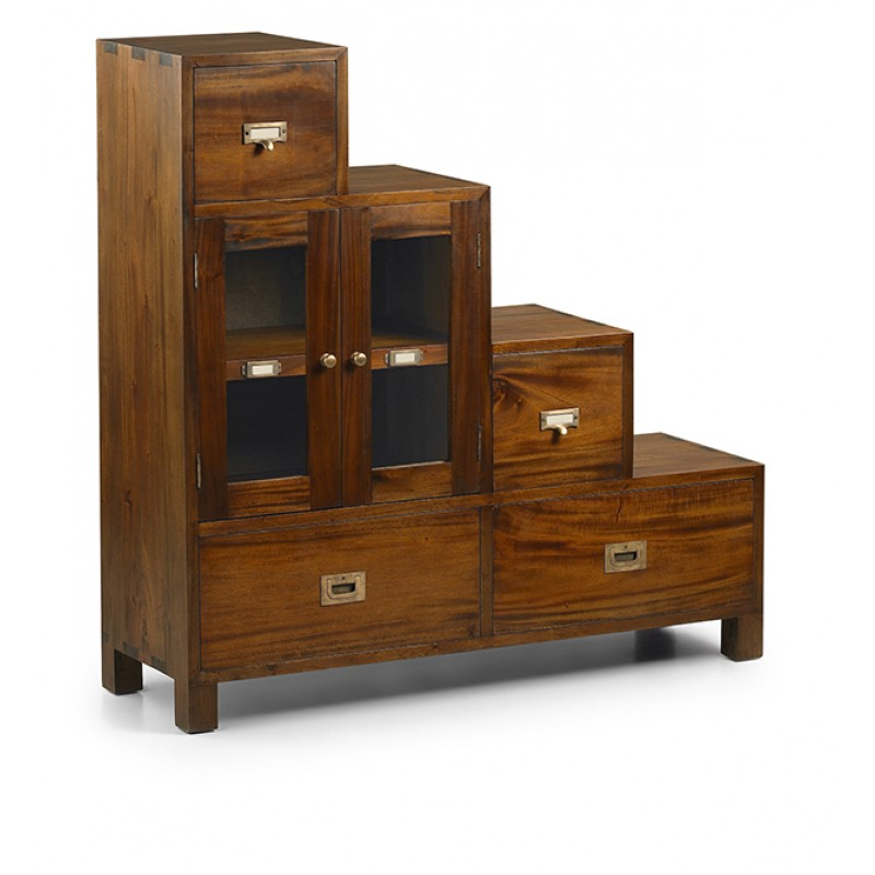 Mueble escalera de madera maciza caoba el tavolino for Mueble cajones pequenos