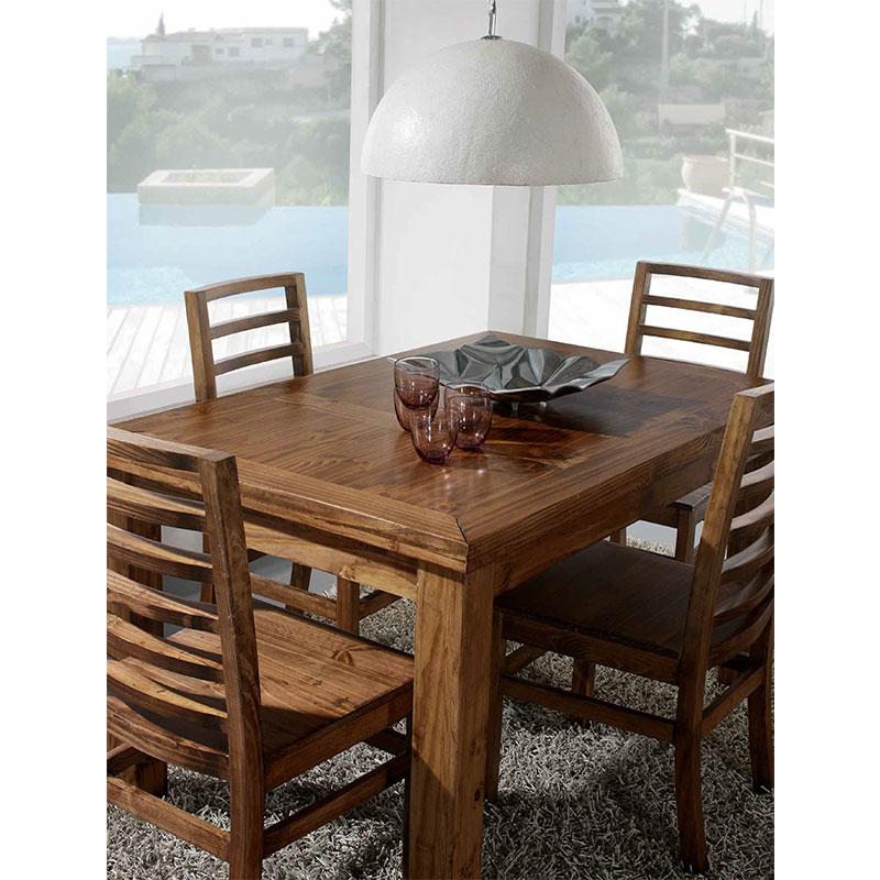 Mesa de comedor rectangular y 4 sillas estilo rústico. El Tavolino