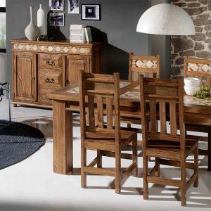 Conjunto mesa y sillas estilo rústico mejicano. Colección Mármol. El Tavolino