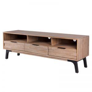 mesa para televisión modelo ámsterdam, estilo industrial, madera de acacia. El Tavolino