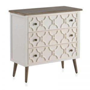 cómoda de estilo romántico color blanco y detalles madera natural. El Tavolino