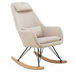 mecedora de estilo nórdico, tapizada color beige. El Tavolino