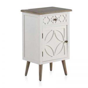 mesita de noche puerta y cajón, estilo romántico. Blanco y madera natural con patitas. El Tavolino