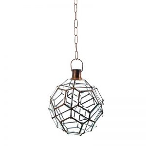 lámpara de techo modelo bola, cristal biselado y bronce. Iluminación El Tavolino.