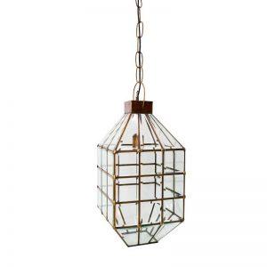 lámpara de techo modelo farol, fabricada con cristal biselado y bronce, detalles de soldadura con estaño. El Tavolino