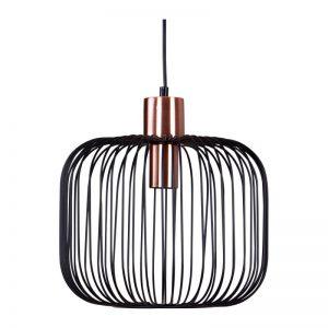 lámpara de techo modelo Rosell, refinado estilo in dustrial, combinada en negro y dorado cobrizo. El Tavolino