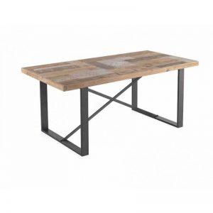 Mesa comedor de estilo industrial. Madera de abeto y metal negro. El Tavolino