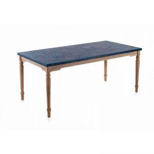 Mesa de comedor imitación cerámica azul, patas torneadas en madera natural. El Tavolino