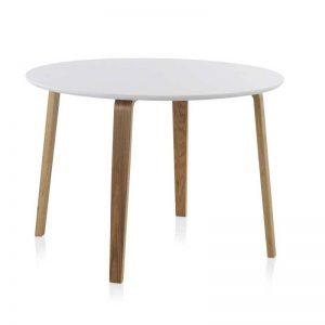 Mesa redonda de comedor, estilo nórdico. Acabado color blanco roto y roble natural. El Tavolino