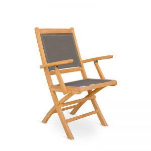 Silla con brazos de teka y tejido screen en color gris. Muebles de exterior El Tavolino