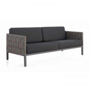 sofá de 3 plazas para exterior, fibra sintética alta calidad, tapizado gris. El Tavolino