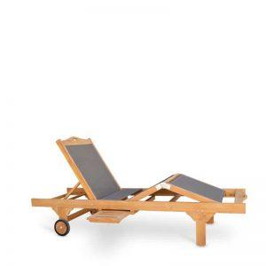 Tumbona madera de teka, con tejido screen en color gris. Mobiliario de exterior gran calidad. El Tavolino