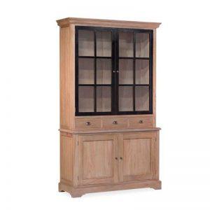 Vitrina de estilo rústico industrial, de madera maciza de mindi. Colección Siena. Muebles El Tavolino