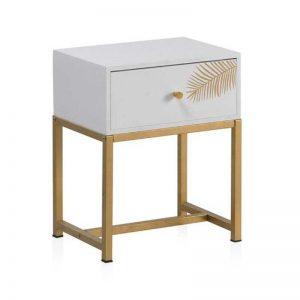 Mesita de 1 cajón. Acabados en blanco y dorado. Muebles El Tavolino