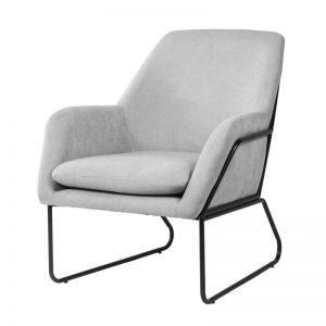 Sillón modelo Budapest tapizado gris claro. Muebles El Tavolino