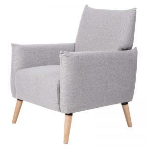 Sillón modelo Habana, tapizado en color gris claro. Muebles El Tavolino