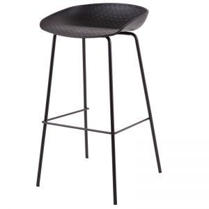 Taburete modelo Alene. Metal y polipropileno en color negro. Muebles El Tavolino