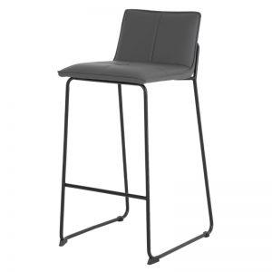 Taburete con respaldo modelo Lou. Tapizado color gris. Muebles El Tavolino