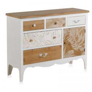 Cómoda de estilo vintage. Madera natural y blanco. Muebles El Tavolino
