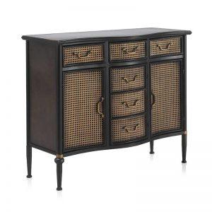 Aparador de estilo industrial. Fabricado en metal color negro y bronce envejecido. Muebles El Tavolino