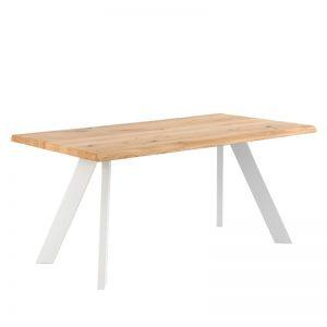 Mesa estilo industrial, patas en blanco y sobre madera de roble. El Tavolino