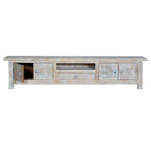 Mesa aparador para televisión. Madera de mango blanco envejecido. Muebles El Tavolino