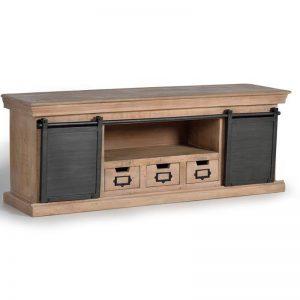 Mesa TV madera de mango y metal. Muebles El Tavolino