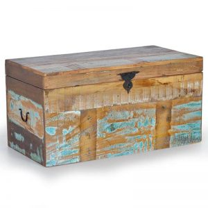 Baúl de estilo rústico vintage. Madera de mango reciclada con colores desgastados. Muebles El Tavolino