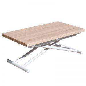 Mesa de centro elevable y extensible. Madera de roble natural y patas lacadas en blanco. El Tavolino