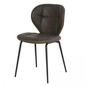 Silla modelo Dafne. Estilo industrial, tapizado cuero gris. Muebles El Tavolino