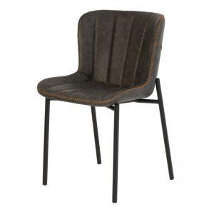 Silla de estilo industrial tapizada en cuero color gris. Muebles El Tavolino