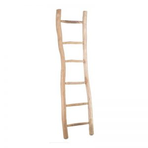 Escalera de teca, ideal como toallero. Muebles El Tavolino