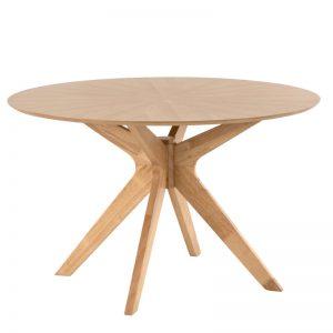 Mesa redonda en roble modelo Carmel. Muebles El Tavolino